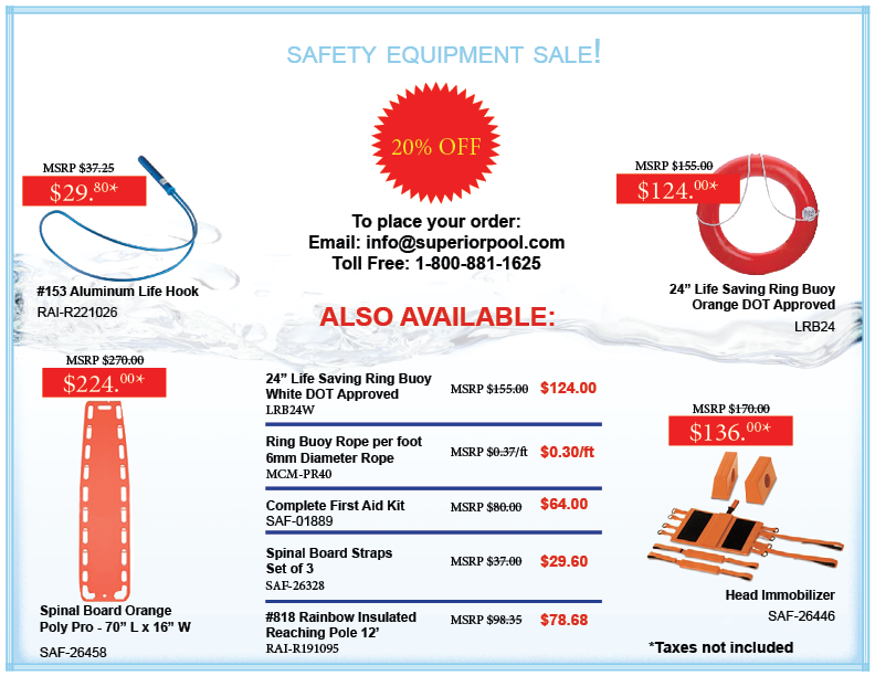 superior pool safety equipment sale 20% off life hooks insulated reaching poles ring buoys spinal boards head immobilizers buoy rope first aid kits