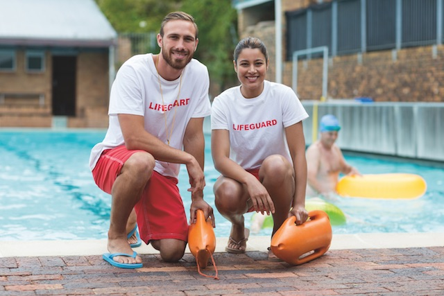 Male and female lifeguards